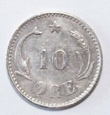 1891, 10 Ore Denmark Silver Very Rare and High Value Nice Vintage Coin