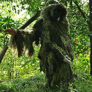 Camo Jungle Camouflage Leaf Training Ghillie Suit Jacket & Trousers Head Cover