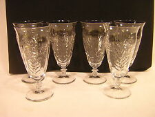 6 Libbey Rock Sharpe Iced Tea Tumblers ~ Unknown Pattern ~ Stem 1021