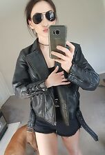 Real leather motorcycle biker jacket lace up zips buttons L 12 vintage grunge