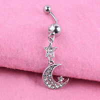 Crystal Dangle Navel Piercing Ring Body Surgical Steel Belly Button Bar Barbell