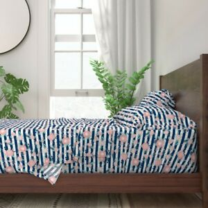 Stripes And Florals Floral Flowers 100% Cotton Sateen Sheet Set by Roostery