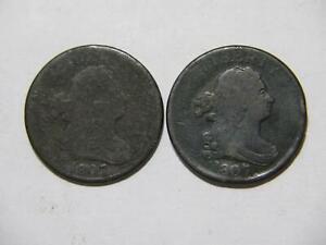 1807 DRAPED BUST HALF CENT LOW GRADE U.S. MINT COIN LOT (2) 🌈⭐🌈