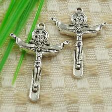 111pcs tibetan silver Jesus cross charms 34x24mm #4615