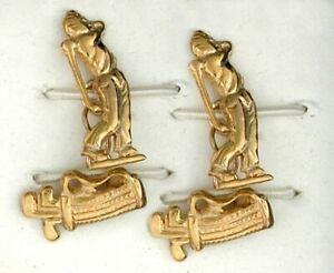 9ct Yellow Gold Golfer & Clubs Gents Cufflinks