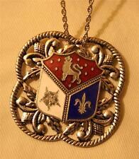 Handsome Leaf Rimmed Scalloped Lion & Fleur de Lis Enamel Crest Pendant Necklace