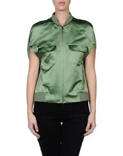 L'Autre Chose Military Green 'Bomberino Mint' Silk Sleeveless Jacket - Small