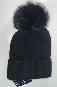 ANTHROPOLOGIE NORLA Hat NWT NEW Beanie Black Wool Blend Pom Pom Handmade NEW