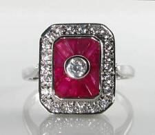 LARGE 9CT 9K WHITE GOLD INDIAN RUBY DIAMOND ART DECO INS RING FREE RESIZE
