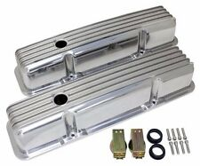 Retro Finned Polished Aluminum Tall Valve Covers For 58-86 SBC Chevy 327 350 400