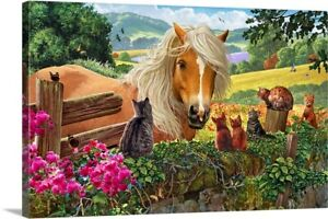A wall in the countryside covered with Canvas Wall Art Print, Cat Home Decor