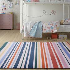 Large Rainbow Multi Rug Fine Cotton Handwoven Stripe Lounges Carpet 190x280cm