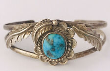 Vintage Sterling Silver NAVAJO Native American Turquoise Feather Cuff Bracelet
