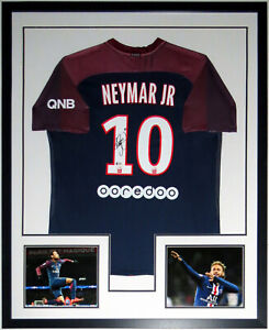 Neymar Jr Autographed Nike PSG Paris Jersey Beckett BAS COA Framed Photo 34x42