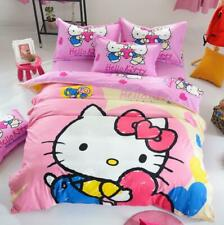 Pink heart-shaped Hello Kitty Kids Bedding Duvet Cover Bed Sheet twin full queen