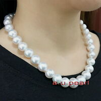 """big AAAA 17""""13-14mm natural round REAL South sea WHITE pearl necklace 14K GOLD"""