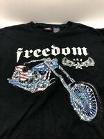 Motorcycle T-Shirt Ride On Freedom American Flag Biker Chopper Mens 2XL