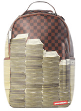 Sprayground Stacks In Paris Brown Damier Pattern Cash Book Bag Backpack 910B1529