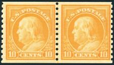US 497 10¢ 1922 Benjamin Franklin coil joint line pair Fine NH