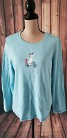 HUE Women's Long Sleeve Holiday Christmas Top Reindeer on Bike Blue Size XL EUC