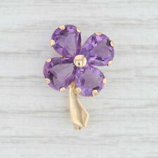 5.80ctw Amethyst Flower Brooch 18k Gold Vintage Floral Pin February Birthstone