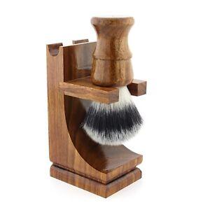 Men Shaving Brush Razor Stand Wooden Holder with Non-slip Base for Storing