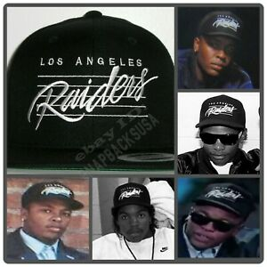 LA Los Angeles Raiders Lined Black Snapback Cap Hat NWA EAZY E