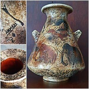 Armen Jarrón Cerámica Vintage Decoración Animales Prehistóricos/ Arte Parietal /