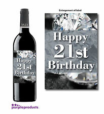 HAPPY 21st BIRTHDAY DIAMONDS DESIGN WINE BOTTLE LABEL GIFT