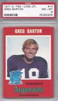 1971 OPC football card #14 Greg Barton, Toronto Argonauts  PSA 8 CFL Canadian