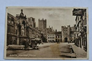Postcard Wells Market Place Somerset Posted Postmark 1926 Frith's Series