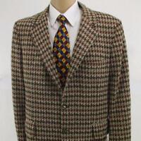 44 L Andover Vtg 1974 Brown Plaid Polyester 2 Btn Mens Jacket Sport Coat Blazer