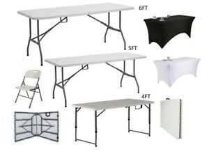 4FT 5FT & 6FT CAMPING CATERING HEAVY DUTY FOLDING TABLE TRESTLE, CHAIRS & COVERS