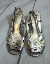 Vintage Clarks Womens Sandels Bronze Silver Gold Snakeskin Effect UK 5
