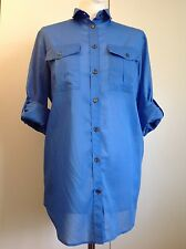 Burberry Brit blue military style shirt blouse, size S