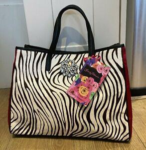 Russell & Bromley Zebra/Black/Red Beverly Feldman Bag BNWT, RRP £225  + Dust Bag
