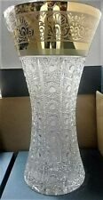 Bohemia Crystal Hand Cut 14'' Tall Vase decorated gold and engraving