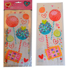 Valentines Cellophane Bags Pack of 20 Gift Party Treat Kids Sweet Lollipop Cello