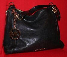 MICHAEL KORS Black Leather Stanthorpe with Gold Chain-Link MK Medallion Handbag