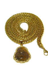 Tiger Eye Buddha Men's Gold Plated pendant with 8mm Thick Cuban Chain