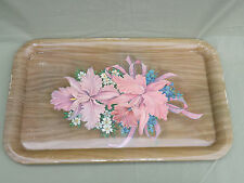 Vintage Metal Wood Grain Pink Flowers Serving TV Trays Floral Pattern LOT of 10