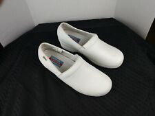 Womens Authentic Cherokee Workwear Harmony White Leather Clog 9w