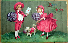 1913 Dog Postcard: Couple in Red w/Puppy - Embossed, Color Litho