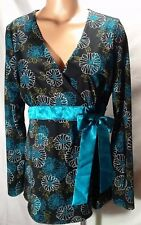 Motherhood Maternity~Floral Print~Blue Bow~Black Shirt Blouse~Women's Size L