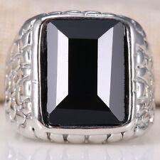 Huge 5.5Ct Black Sapphire 925 Silver Women Wedding Engagement Ring Size 6-10