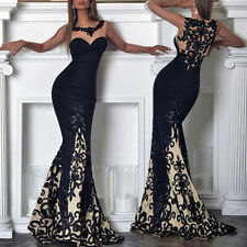 Womens Lace Formal Ball Gown Prom Evening Cocktail Wedding Bridesmaid Dresses UK
