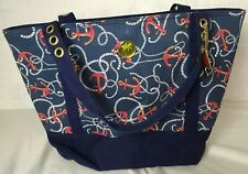 Palm Island Nautical Anchor Patterned Beach Tote Bag Cruise Sailing Blue Red