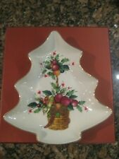 Lenox Holiday Tartan Tree Shaped Candy Dish Bowl Christmas New