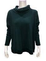 AnyBody Loungewear Women's Plush Terry Cowl-Neck Top Solid Pine Medium Size