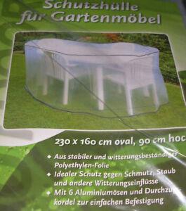 Schutzhülle  Abdeckhaube  Folie  für Gartenmöbel  grün  230x160 oval 90cm hoch